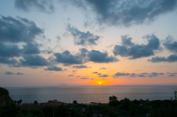 Calabria, Sunset view Stromboli